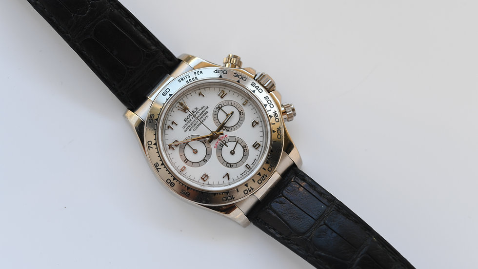 Rolex Daytona 116519 White Gold and Dial Crocodile Band
