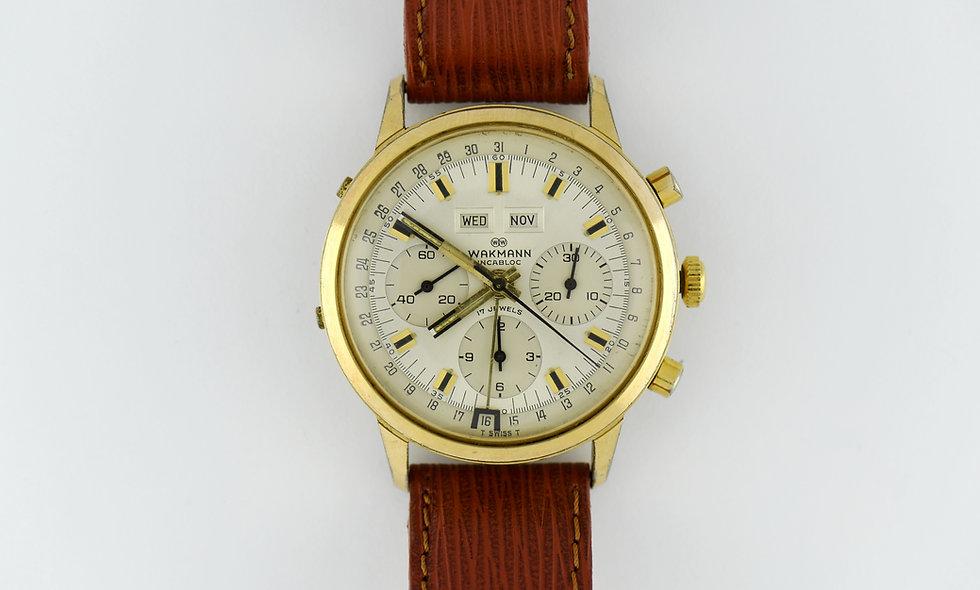 Wakmann Triple Date Chronograph Gold Plated Valjoux 72C