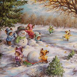 souris - hiver - bonhomme de niege - patin