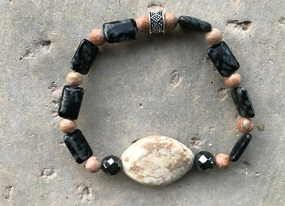 Picture Jasper, Black/Grey Marble and Hematite with Reconstituted Stone Focal Br
