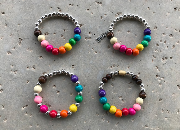 Mutiple Styles of Colorful Wood Beads with Metal Alloy Bracelets