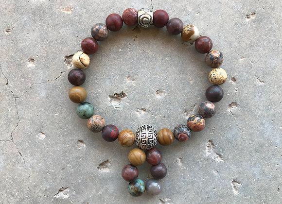 Multiple Type Jasper and African Turquoise Loop Bracelet