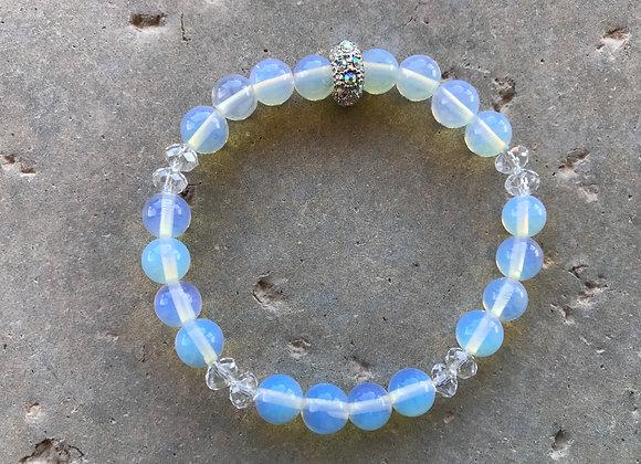 Moonstone and Crystal Glass Bracelet