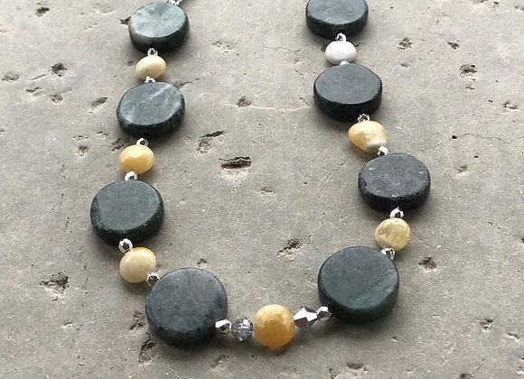 Calcite and Green Marble with Crystal and Metal Beads Necklace