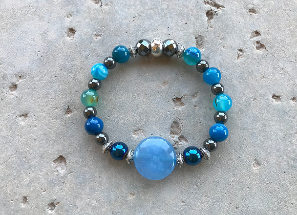 Blue Agate and Blue Hematite with Blue Jade Focal Bracelet