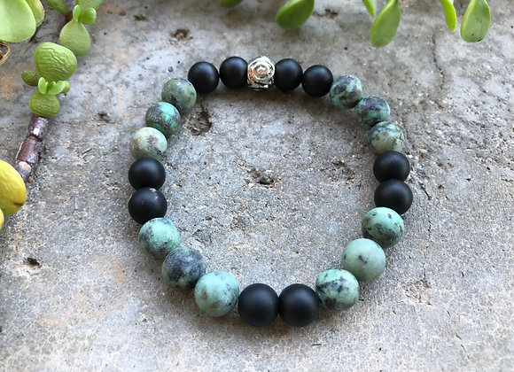 African Turquoise and Matte Black Onyx Bracelet