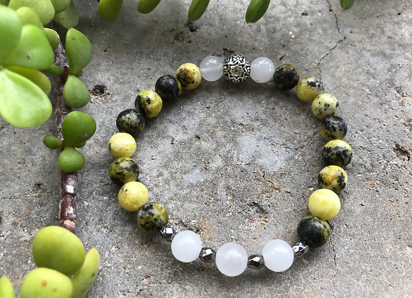 Yellow Turquoise with Snow Quartz Bracelet
