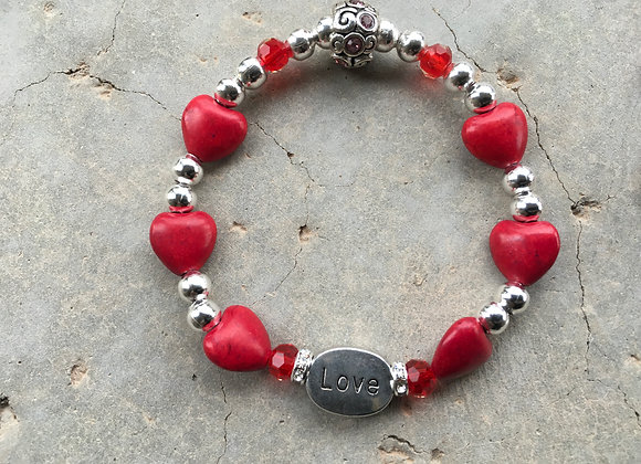 Colored Magnesite Hearts, Crystal and Metal Love Bracelet - Asst Colors
