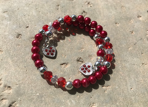 Glass, Crystal and Metal Beads with Two Hearts Wrap Bracelet - Red