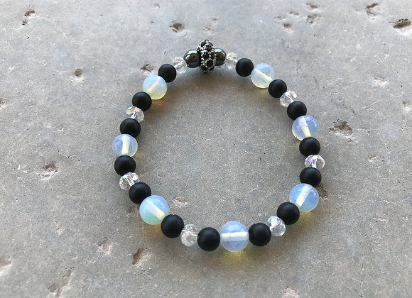 Moonstone, Onyx, Hematite and Crystal Bracelet