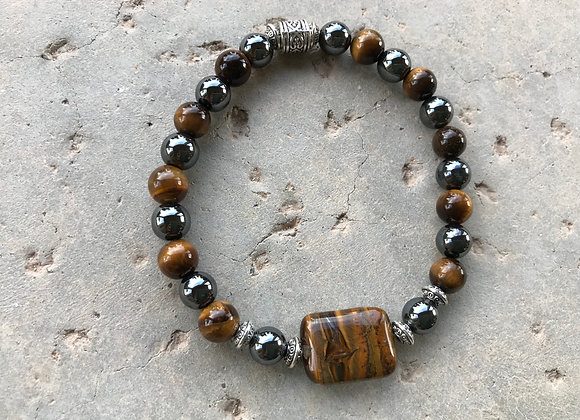 Hematite and Tigereye with Rectangle Tiger Iron Focal Bracelet