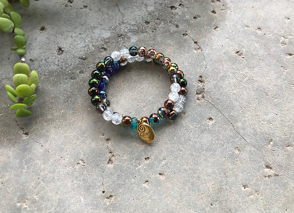 Multiple Colored Crackle Glass with Follow Your Heart Charm Wrap Bracelet