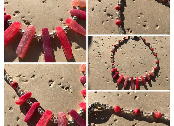 Agate, Crystal and Metal Necklace