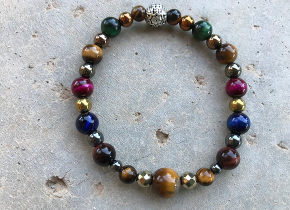 Colorful Tigereye and Multi Colored Hematite Bracelet