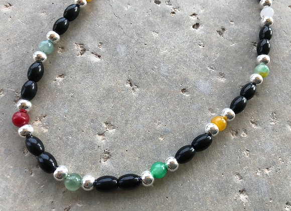 """20"""" Black Obsidian with Multi-Colored Jade Elastic Stretch Necklace"""