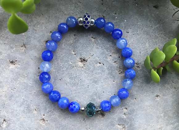 Faceted Chalcedony and Crystal Glass Bracelet