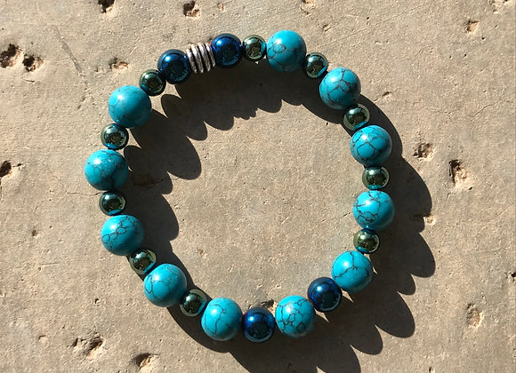 Blue Magnesite and Blue Hematite Bracelet