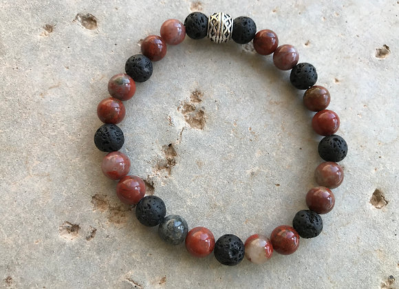 Red Sesame Jasper and Lava Stone Bracelet