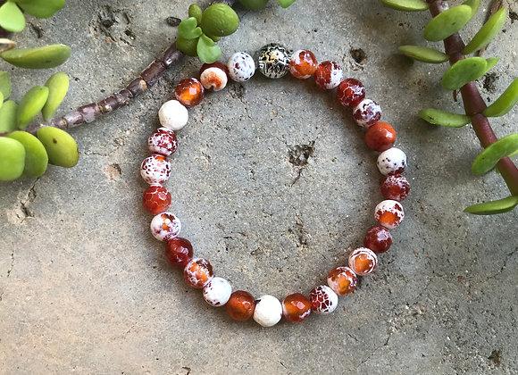Carmel Color Fire Crackle Agate Bracelet