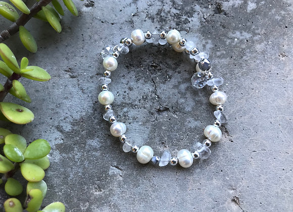 Freshwater Pearls and Quartz Crystal Wrap Bracelet with Crystal Drop