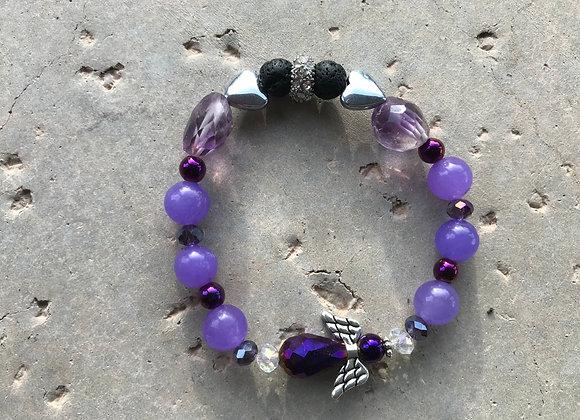 Amethyst, Purple Jade, Hematite, Lava Stone and Crystal Purple Angel Bracelet