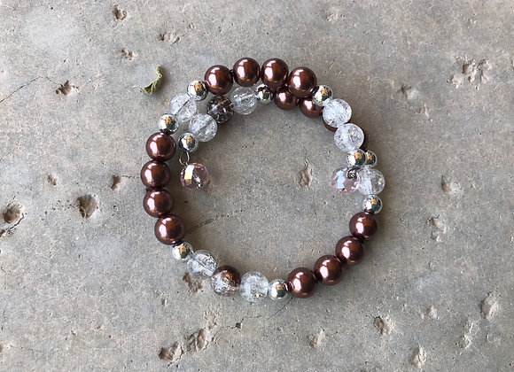 Glass and Crystal Wrap Bracelet with Crystal Drop - Mauve