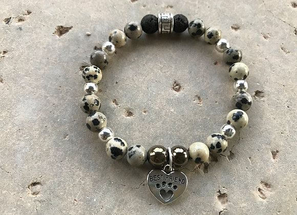Dalmatian Jasper, Hematite and Lava Stone with Paw Print Heart Charm Bracelet