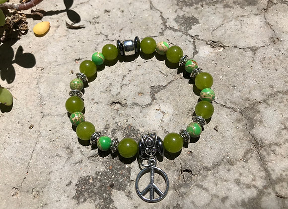 Imperial Jasper and Jade with Peace Sign Charm