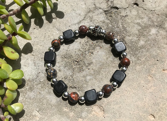Leopardskin Jasper, Blackstone and Metal Bracelet