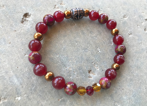Red Ruby in Quartz Pyrite, Red Jade and Hematite with Crystal Bracelet