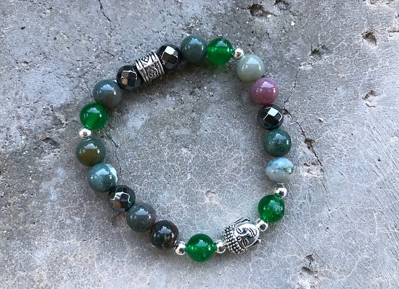 Fancy Jasper, Green Jade and Hematite with Buddha Head Bracelet - Silvertone