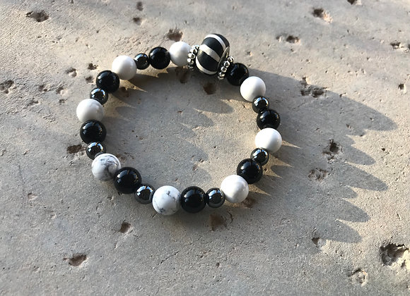 Onyx, Howlite and Hematite with Striped Polymer Clay Bead Bracelet