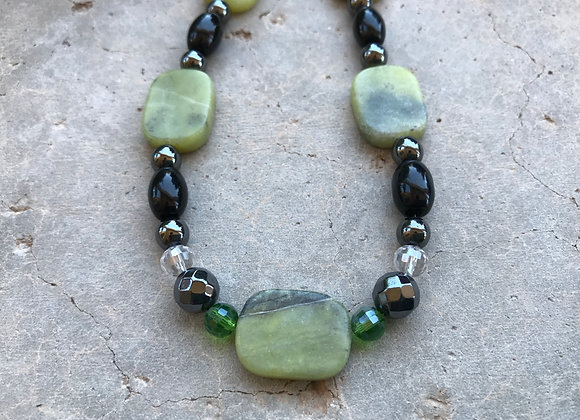 Yellow Turquoise, Black Jade and Hematite with Crystal Necklace