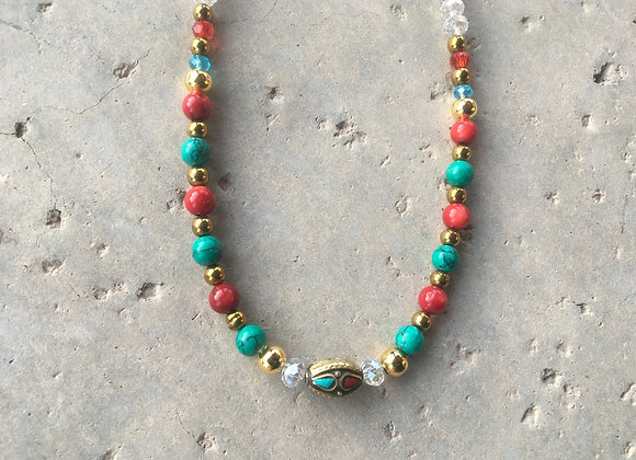 Red Coral (Dyed), Magnesite, Crystal and Metal with Turquoise and Coral Necklace