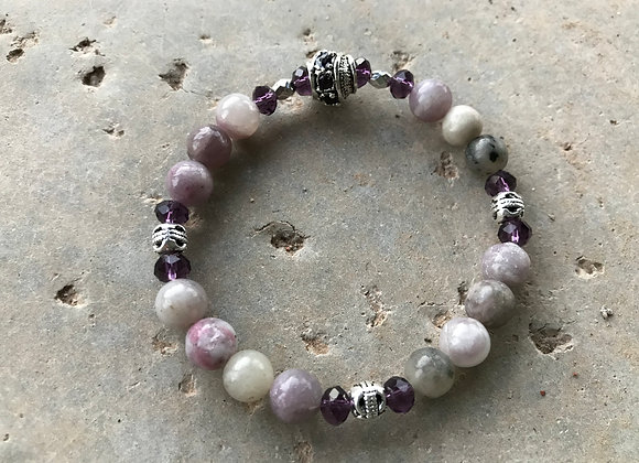 Lilac Stone and Crystal Glass Bracelet