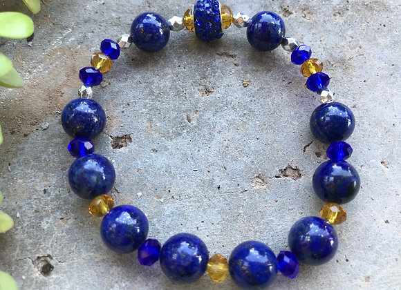 Lapis Lazuli and Crystal Glass Bracelet