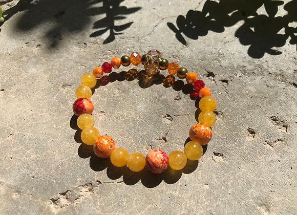 Yellow Jade with Synthetic Decorative Beads and Crystal Bracelet