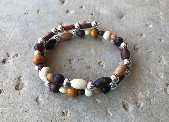 Wood and Metal Alloy Double Wrap Bracelet