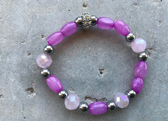 Pink Jade (Dyed), Hematite and Crystal Glass Bracelet