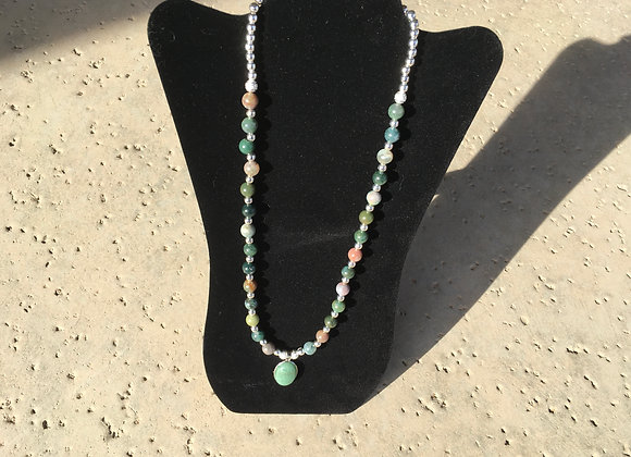 Fancy Jasper and Decorative Metal Beads with Jade Pendant