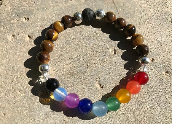 "7"" Tigereye and Rainbow Jade Elastic Stretch Bracelet"
