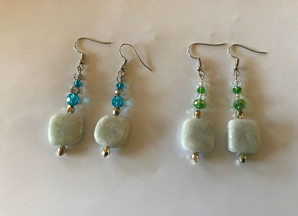 New Jade and Crystal Glass Earrings - Two Colors