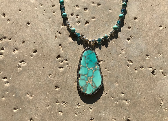 Sea Sediment Jasper and Crystal Glass with Sea Sediment Jasper Pendant Necklace