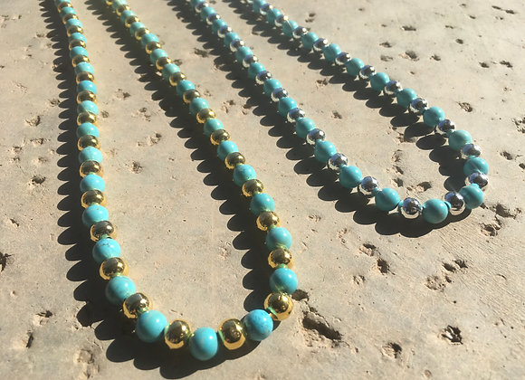 Magnesite and Metal Necklace