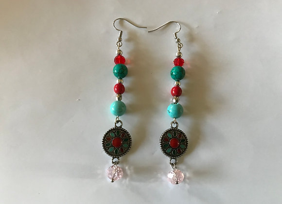 Magnesite, Red Coral and Magnesite Southwestern Style Drop Earrings