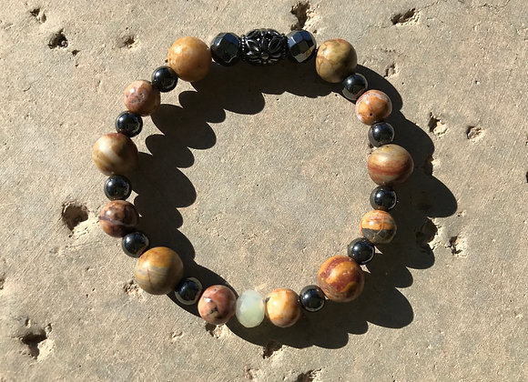 Picture Jasper, Hematite and Crystal Bracelet