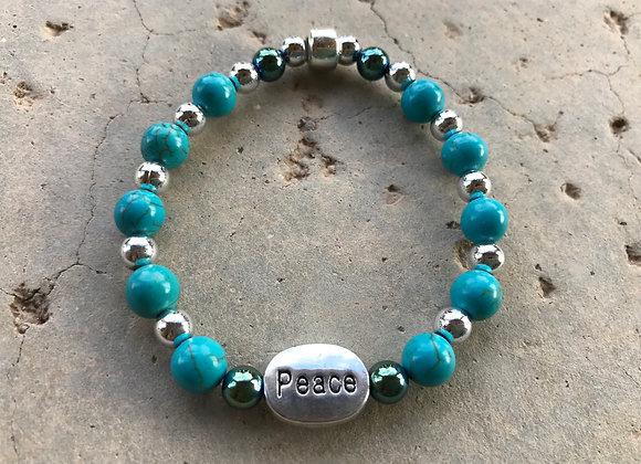 Turquoise Blue. Magnesite, Blue Hematite and Metal Peace Bracelet