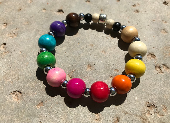 Colorfully Bright Wood and Metal Alloy Bracelet