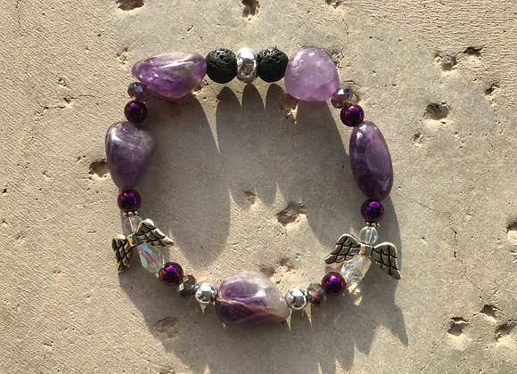 Amethyst, Purple Hematite and Lava Stone with Two Crystal Angels Bracelet