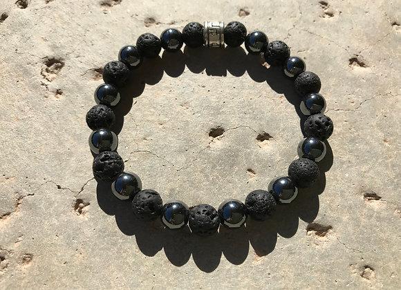 Hematite and Lava Rock Bracelet